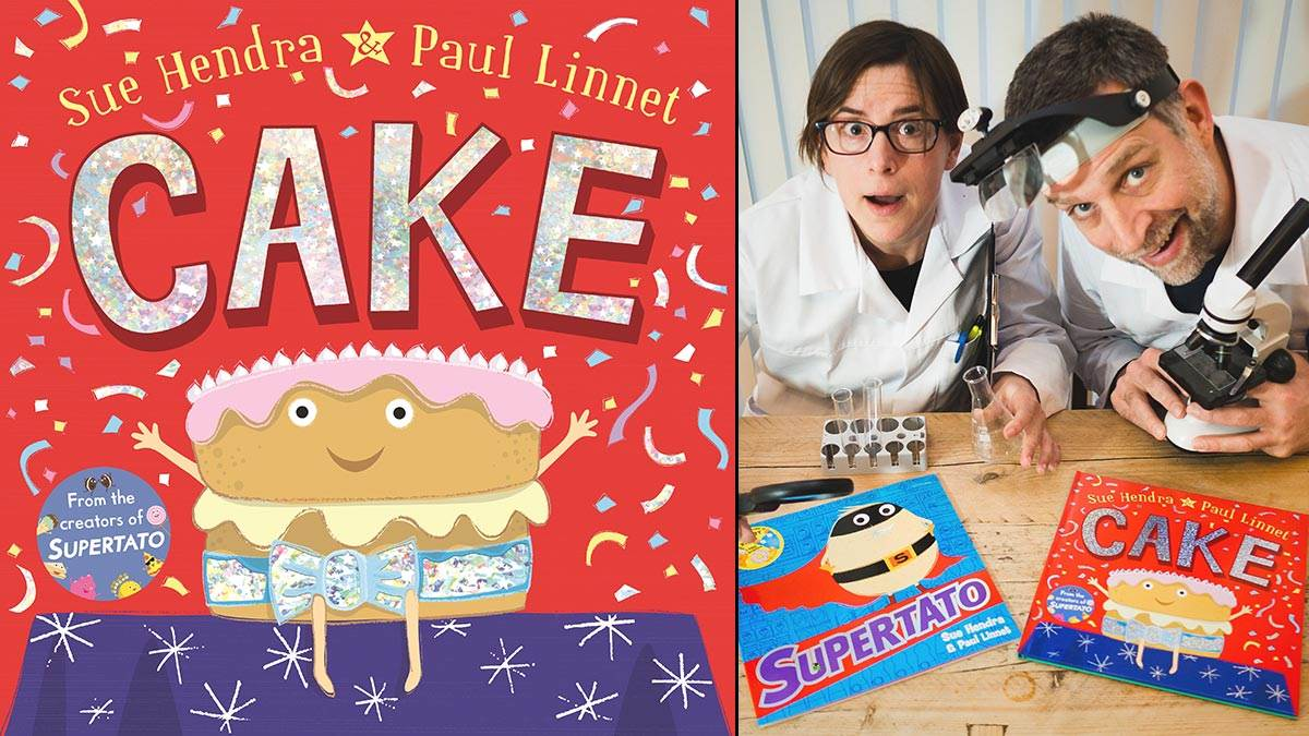 The cover of Cake, and Sue Hendra and Paul Linnet