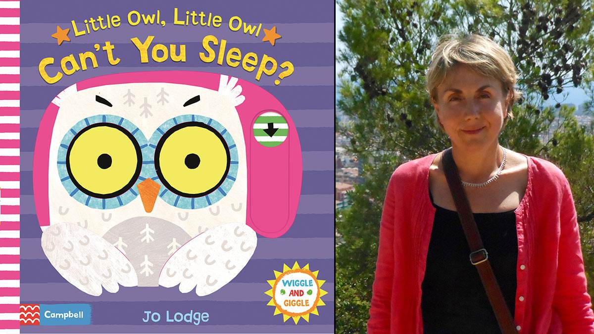 The front cover of Little Owl Little Owl Can't You Sleep and author Jo Lodge