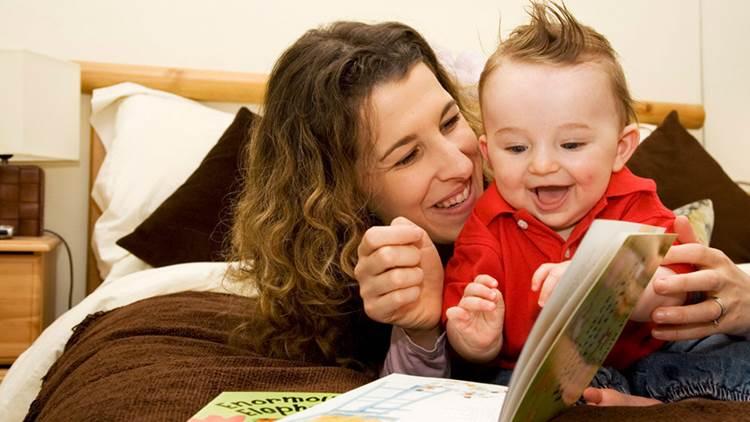 Mum and baby reading