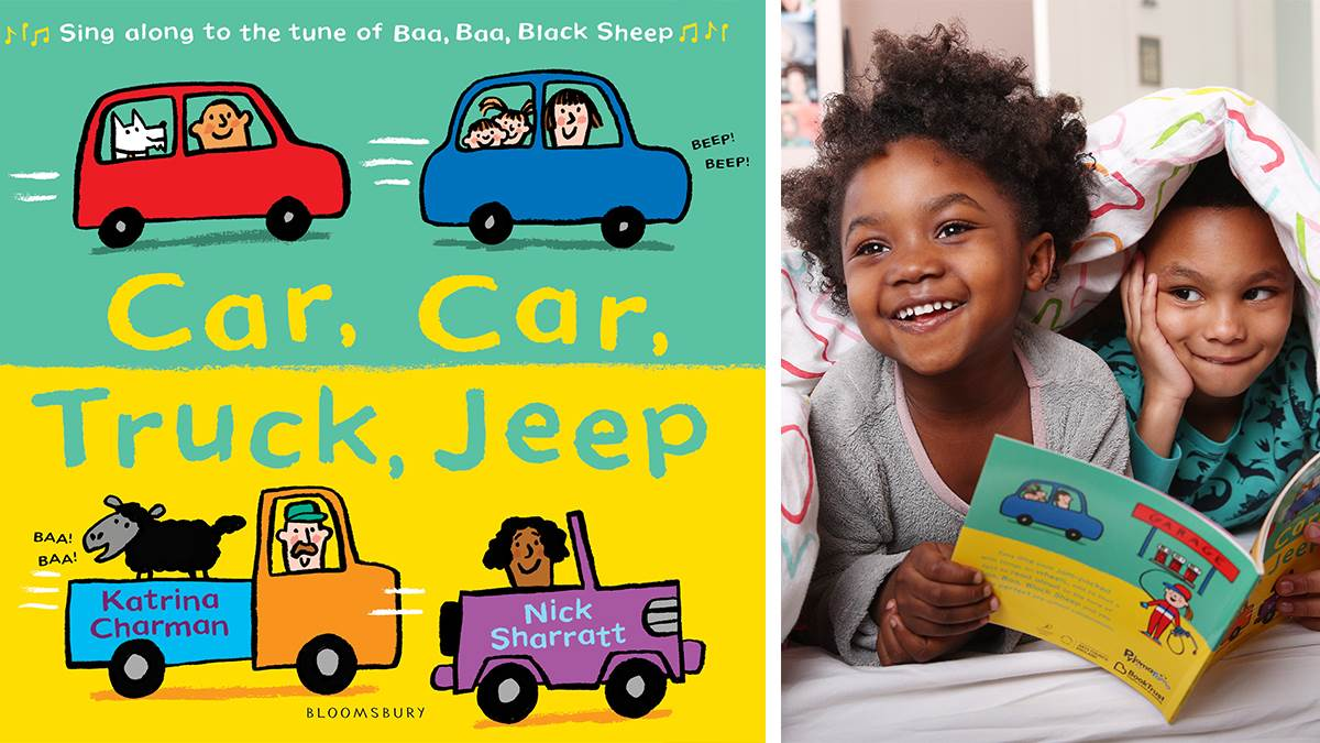 Car Car Truck Jeep cover and kids reading in PJs
