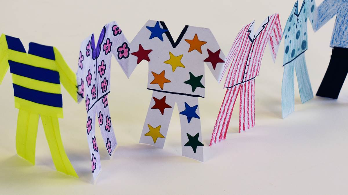 Completed Pyjamarama paper chain activity