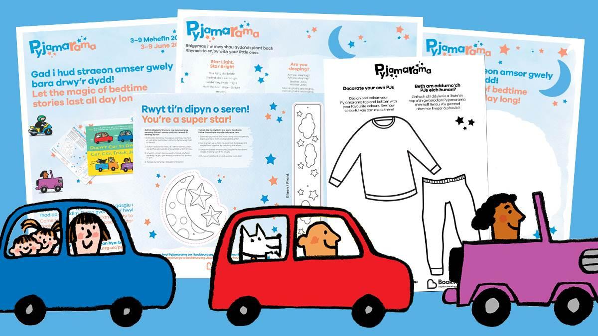 Pyjamarama Welsh-English activities and cars