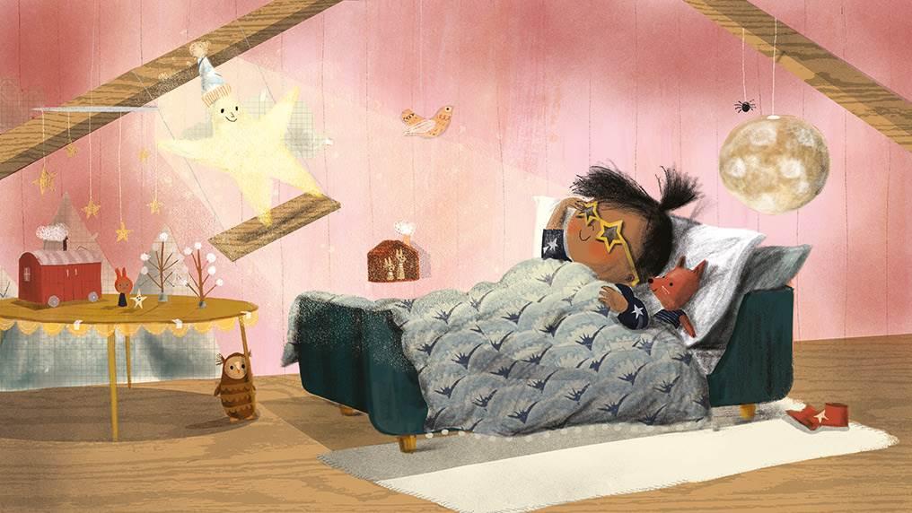 Girl and star in bedroom illustration