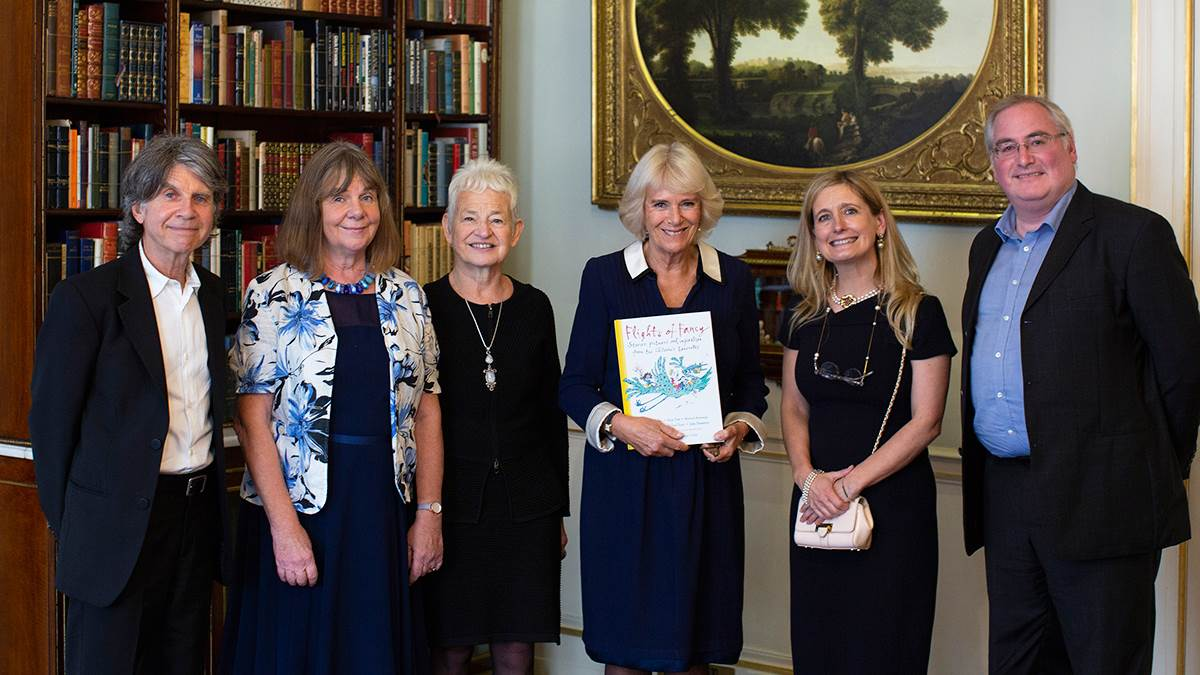The Duchess of Cornwall celebrating the 20th anniversary of the Waterstones Children's Laureate with Anthony Browne, Julia Donaldson, Jacqueline Wilson, Cressida Cowell and Chris Riddell