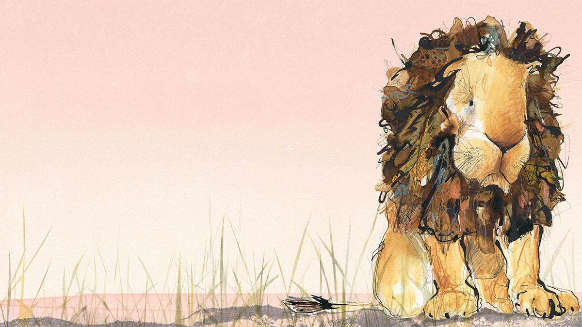 An illustration from Arlo, The Lion Who Couldn't Sleep