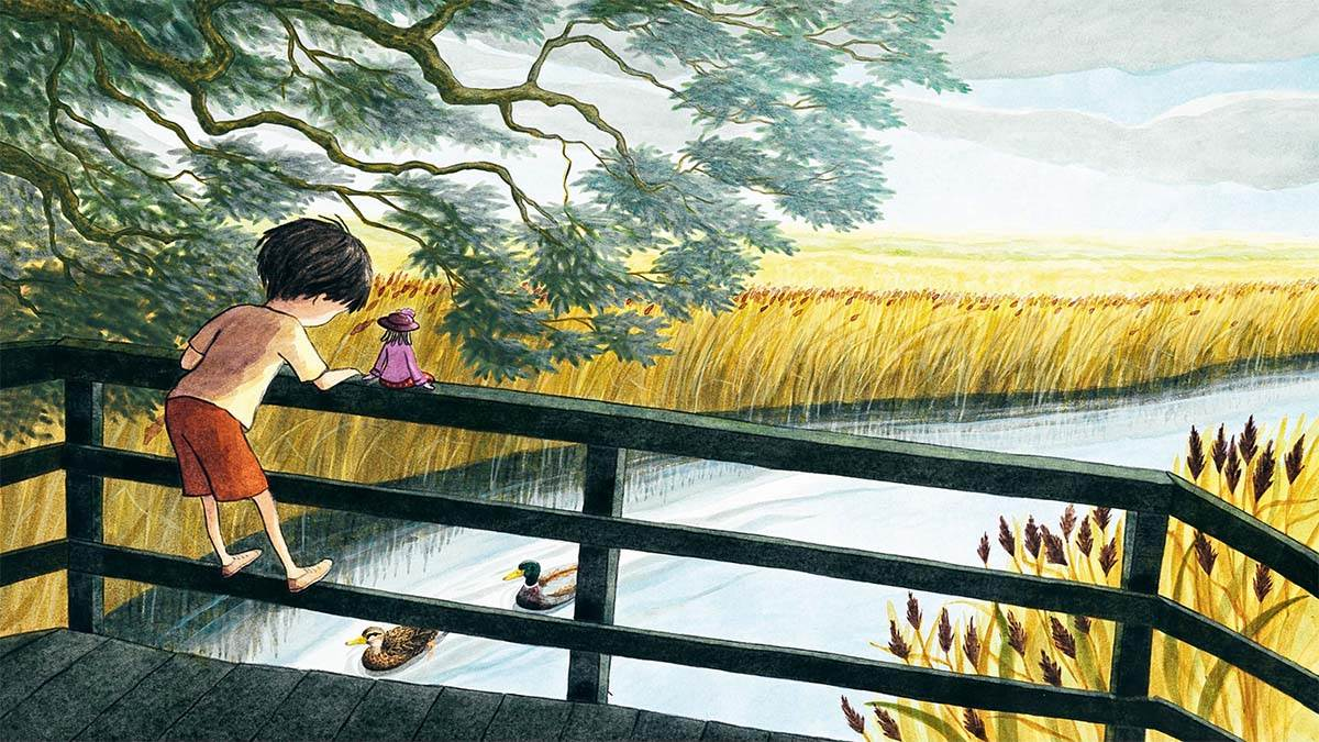 An illustration from Constance in Peril: A boy and a doll on a bridge looking out of a river
