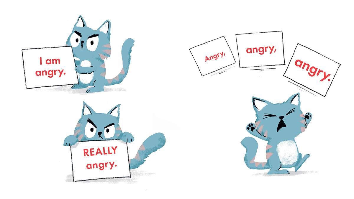 An illustration of a cat holding up signs to show how angry they are