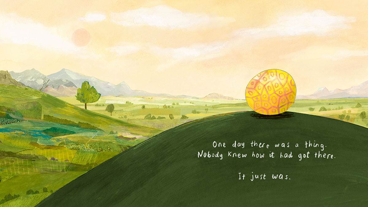 A spread from It's Mine showing the arrival of a mysterious golden object on a hill