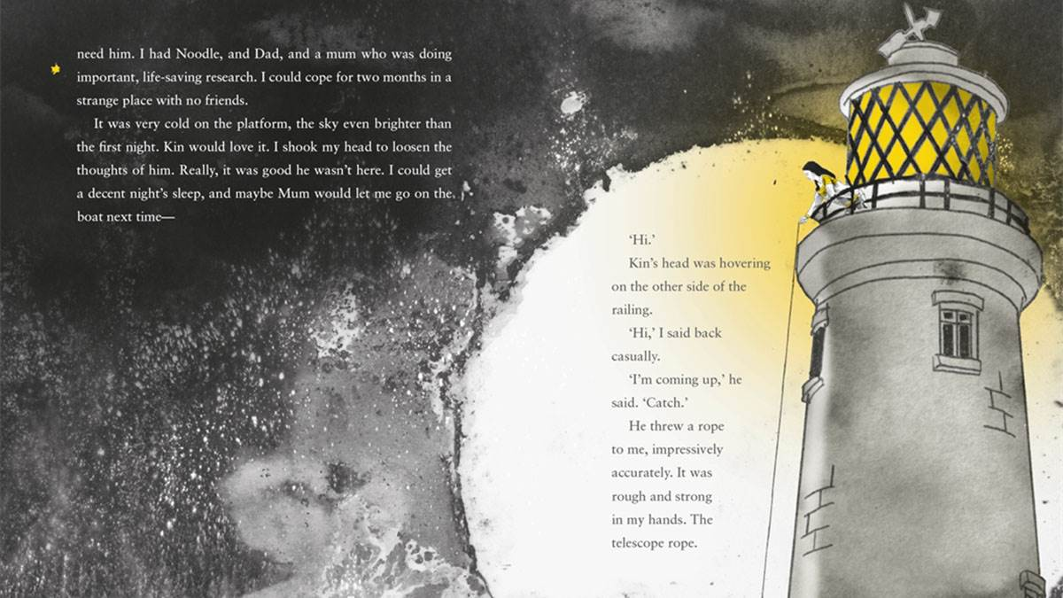 A spread from Julia and the Shark