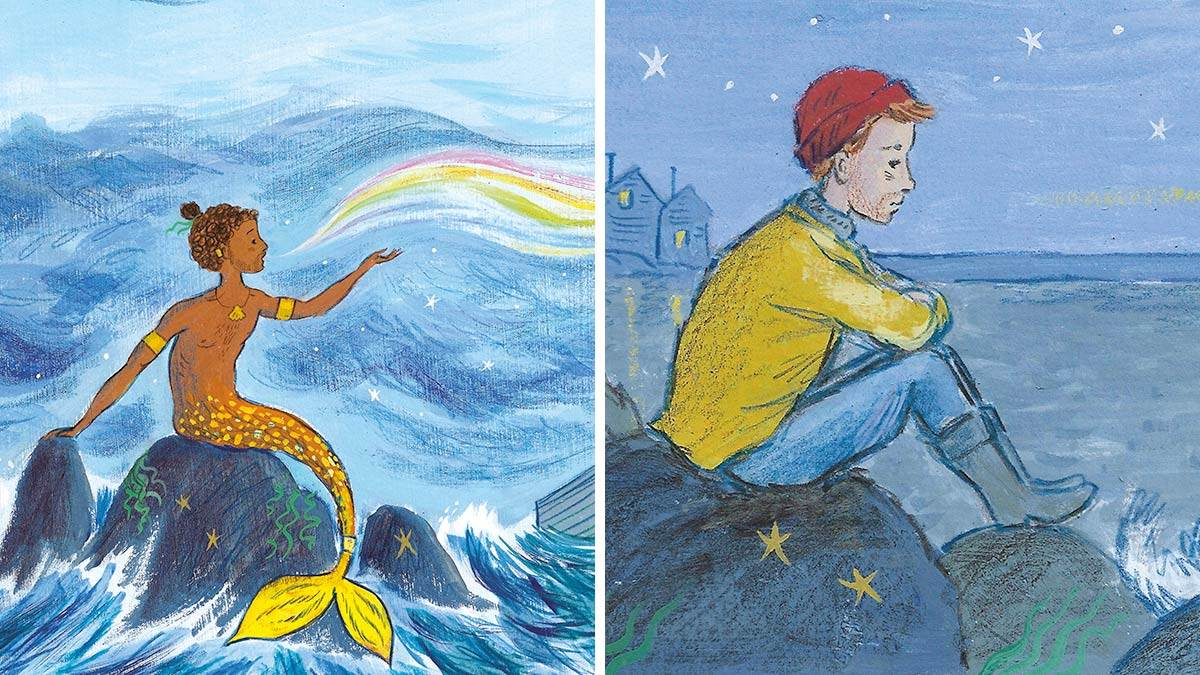 Illustrations from Nen and the Lonely Fisherman: A merman singing a rainbow song, and a fisherman sitting on a rock looking lonely