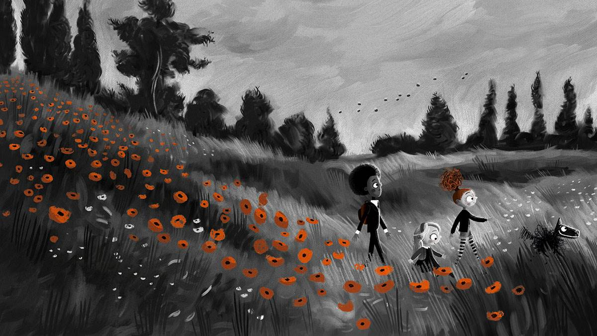 An illustration from Peanut Jones and the Illustrated City: Peanut, Rockwell and Little Bit walking through a field of poppies