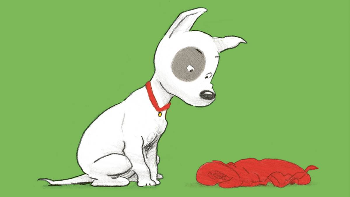 An illustration of a dog looking angrily at a red coat on the ground from Ruffles and the Red, Red Coat