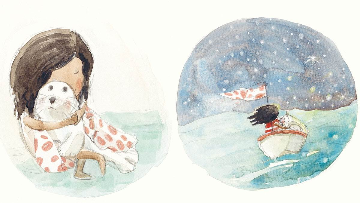 Illustrations from Seal Child: a girl cuddling a seal, and a girl and a sea in a boat together during a starry night