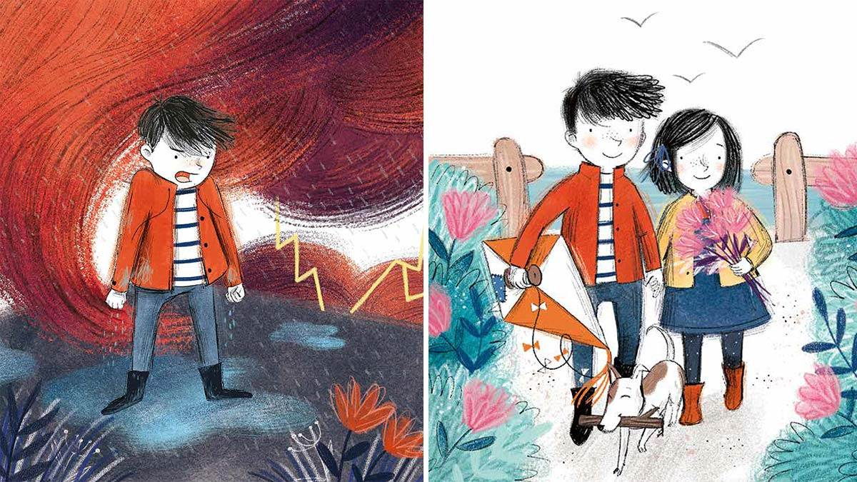 Illustrations from Sometimes: A boy looking angry, and a boy and girl looking happy