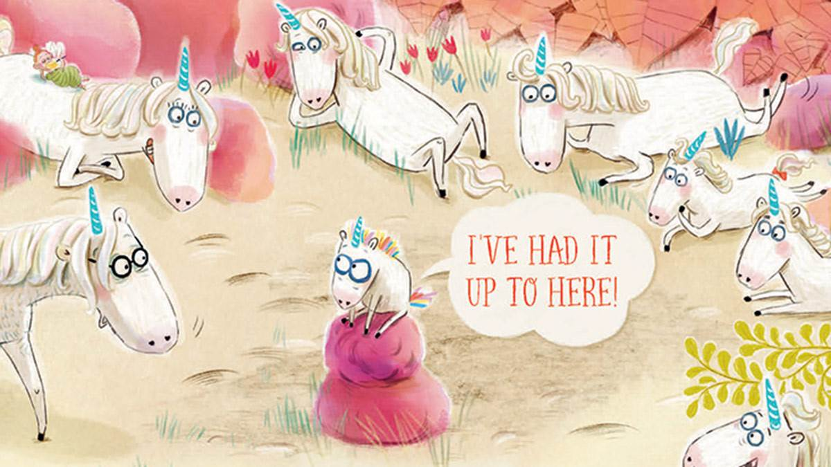 An illustration from The Unicorn That Said No
