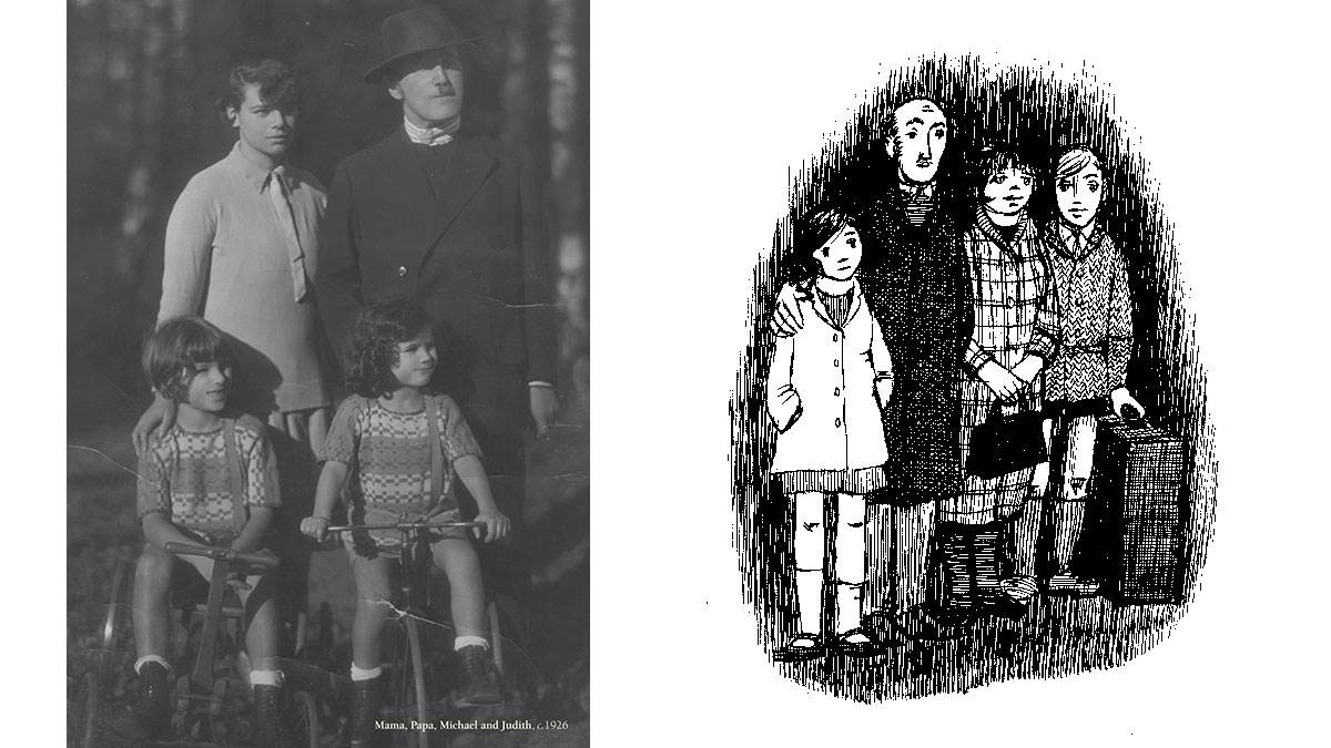 A photograph of Judith Kerr and her family, and an illustration of the family in When Hitler Stole Pink Rabbit