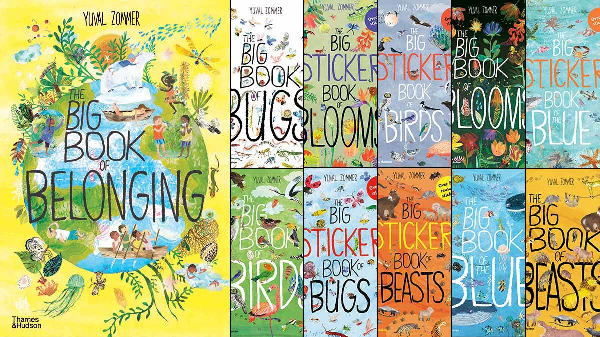 The front covers of The Big Book of Belonging, The Big Book of Bugs, The Big Sticker Book of Blooms, The Big Sticker Book of Birds, The Big Book of Blooms, The Big Sticker Book of the Blue, The Big Book of Birds, The Big Sticker Book of Bugs, The Big Sticker Book of Beasts, The Big Book of the Blue and The Big Book of Beasts