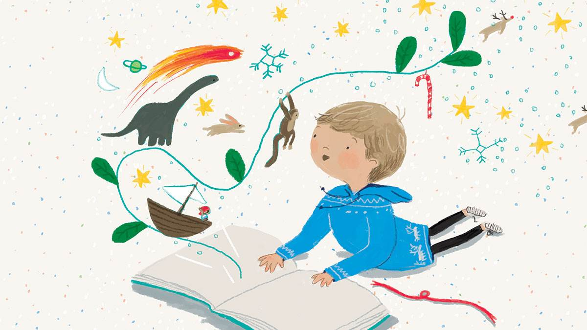 A boy with a magical book
