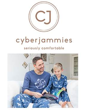 Cyberjammies logo with father and son photo