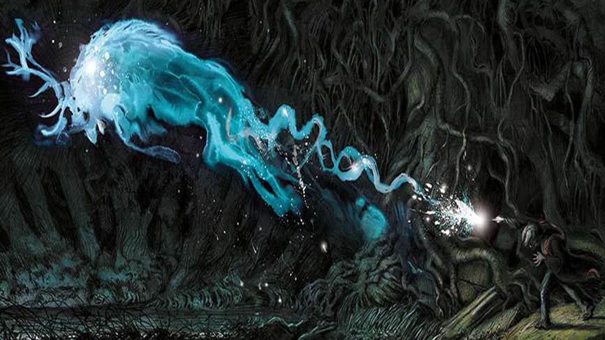 Illustration of Harry Potter casting his Patronus