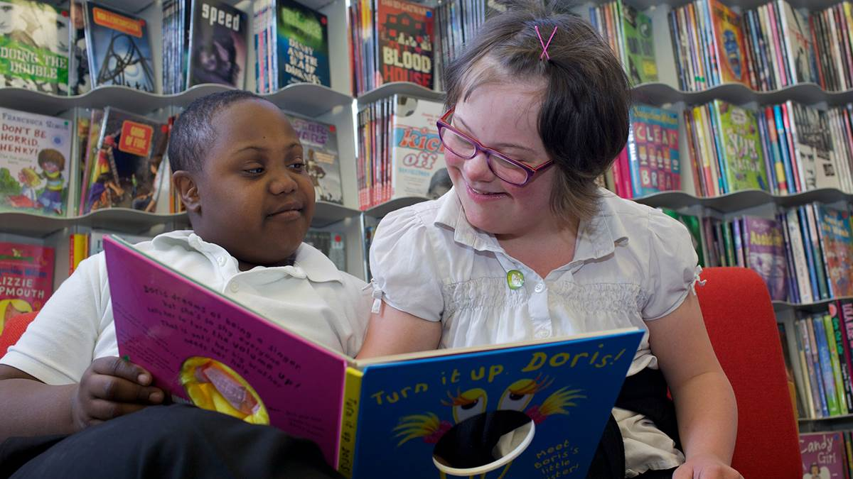 Children reading at school