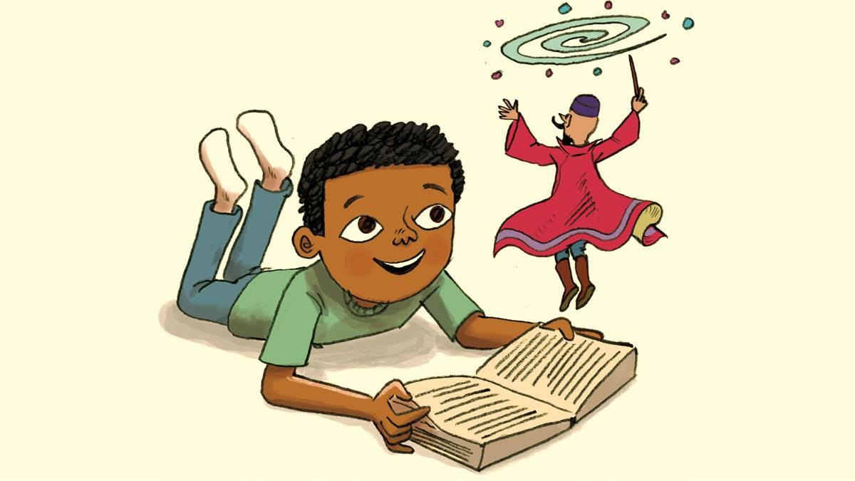 boy reading at home by Anjan Sarkar