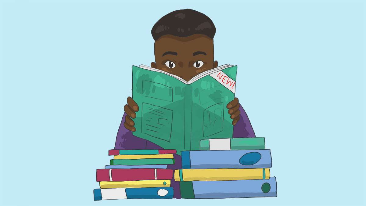 boy reading with pile of books illustration
