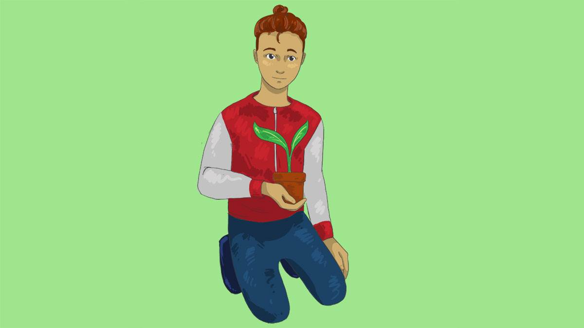 An illustration of a boy holding a plant