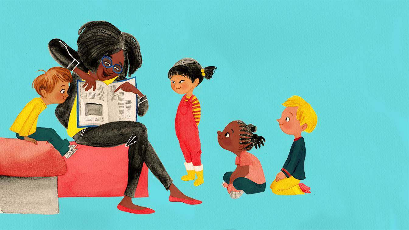 An illustration of a woman reading to a group of children