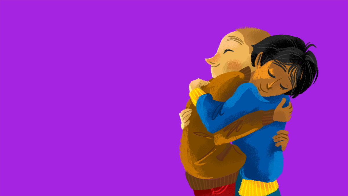 Two illustrated characters hugging