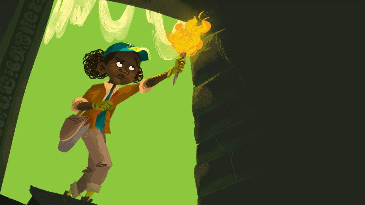 A girl entering a cave with a flaming torch