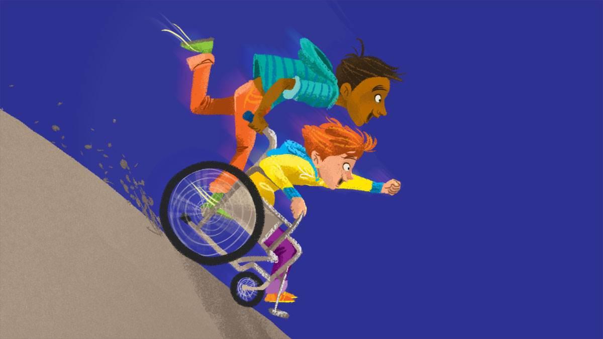 Two children riding a wheelchair down a hill