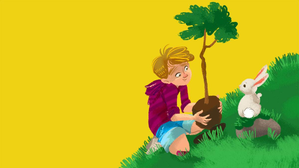 An illustration of a boy planting a tree