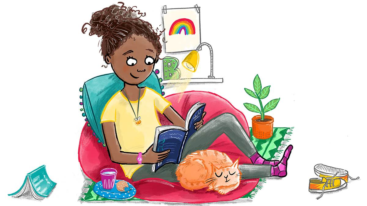 Girl reading at home illustration by Hannah Shaw