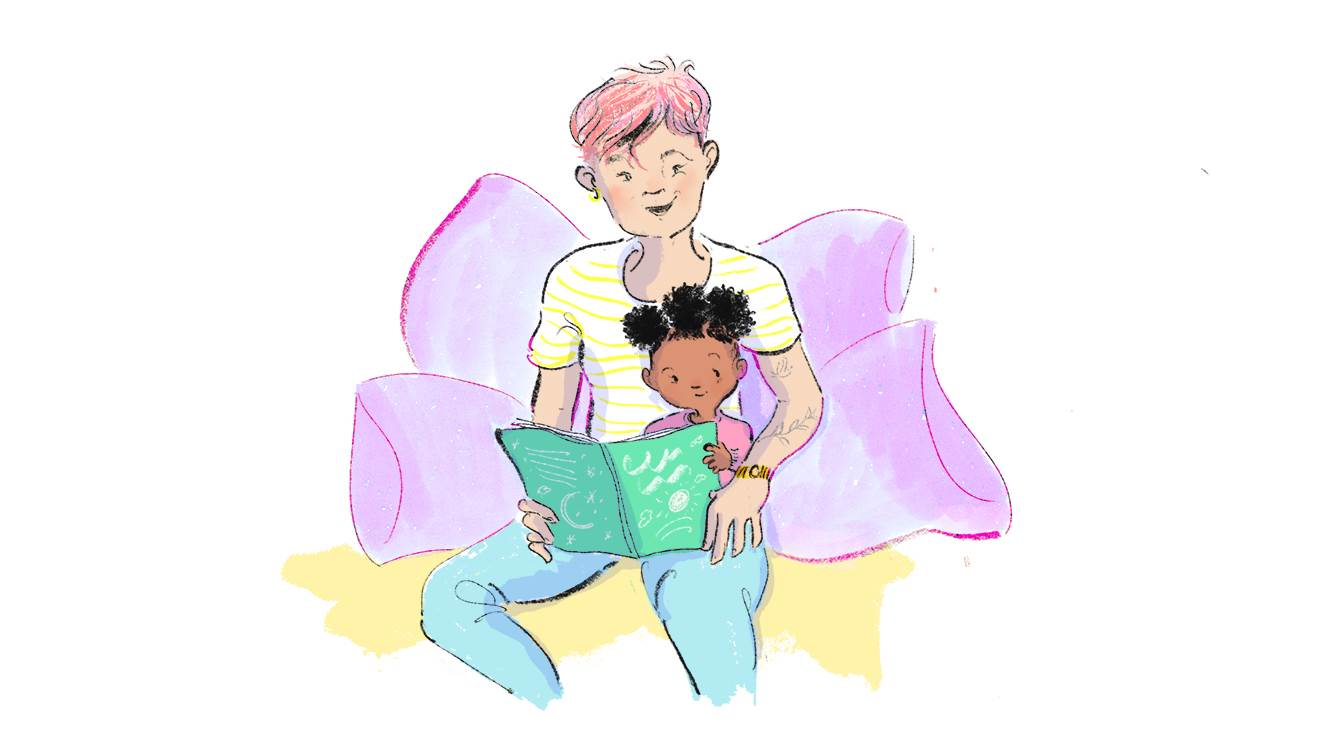 An illustration of a woman and child reading together