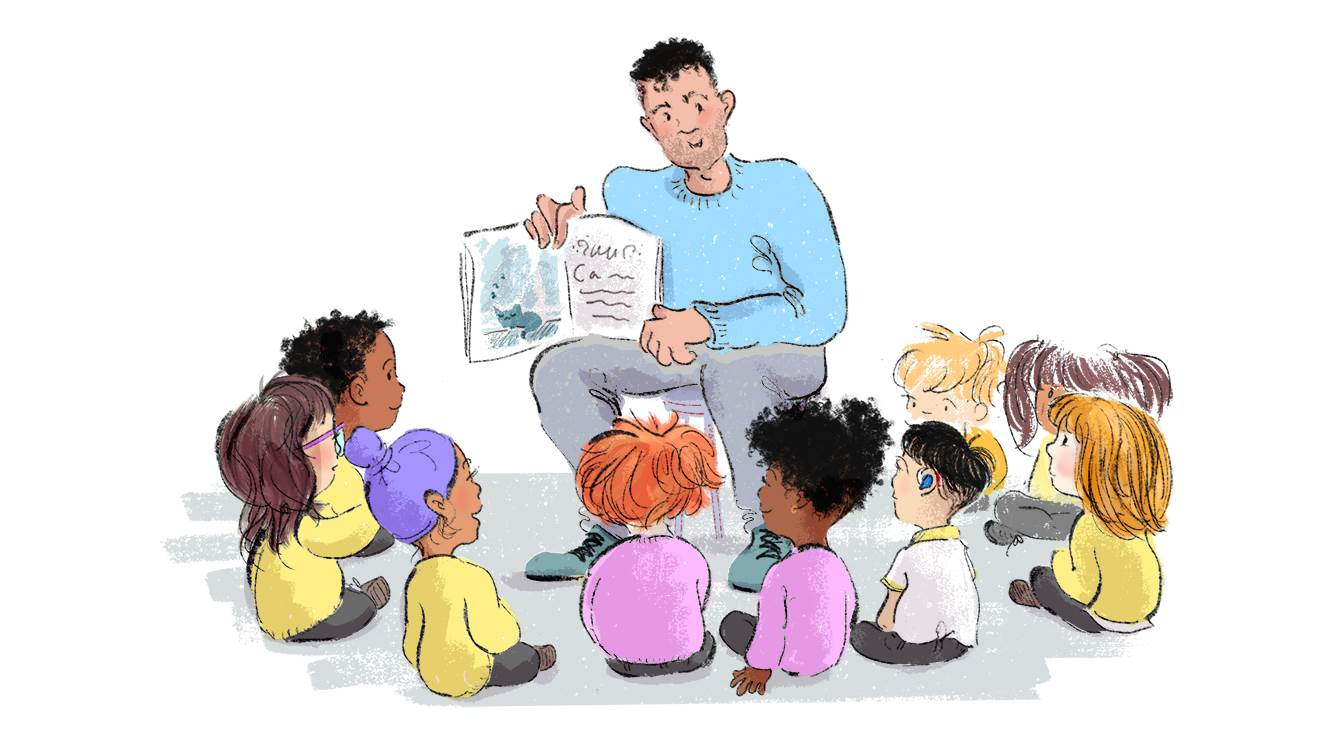 Illustration of teacher reading with children by kate Alizadeh