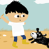 Illustration of a disabled child playing with their dog