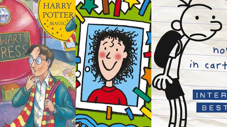 Harry Potter and the Philosopher's Stone by JK Rowling, The Story of Tracy Beaker by Jacqueline Wilson and Diary of a Wimpy Kid by Jeff Kinney