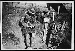 Highland gas sentry reading a letter from home, from National Library of Scotland
