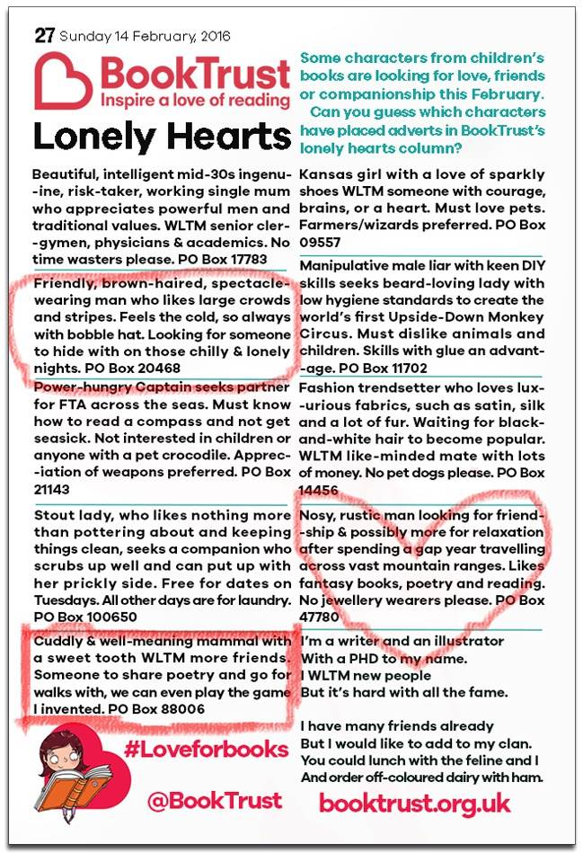 Children's book character Lonely Hearts