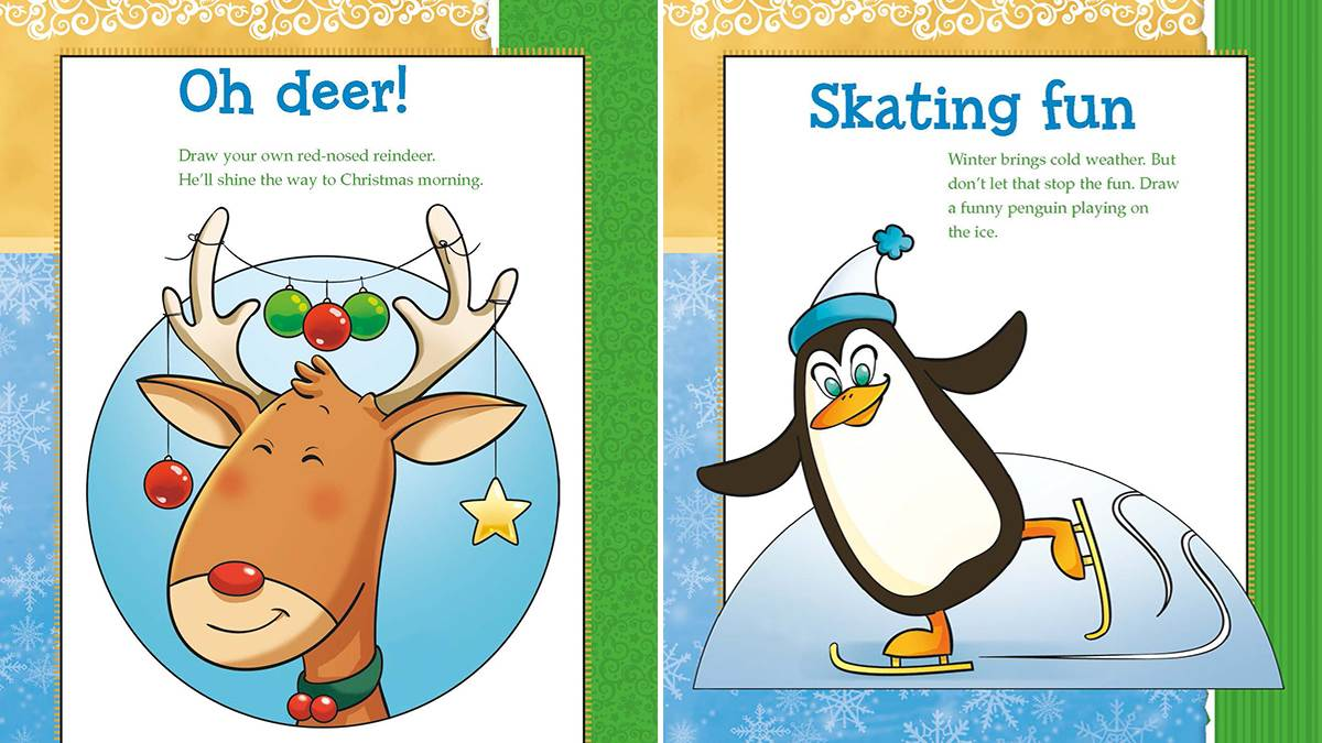 Drawing Christmas: Reindeer and penguin