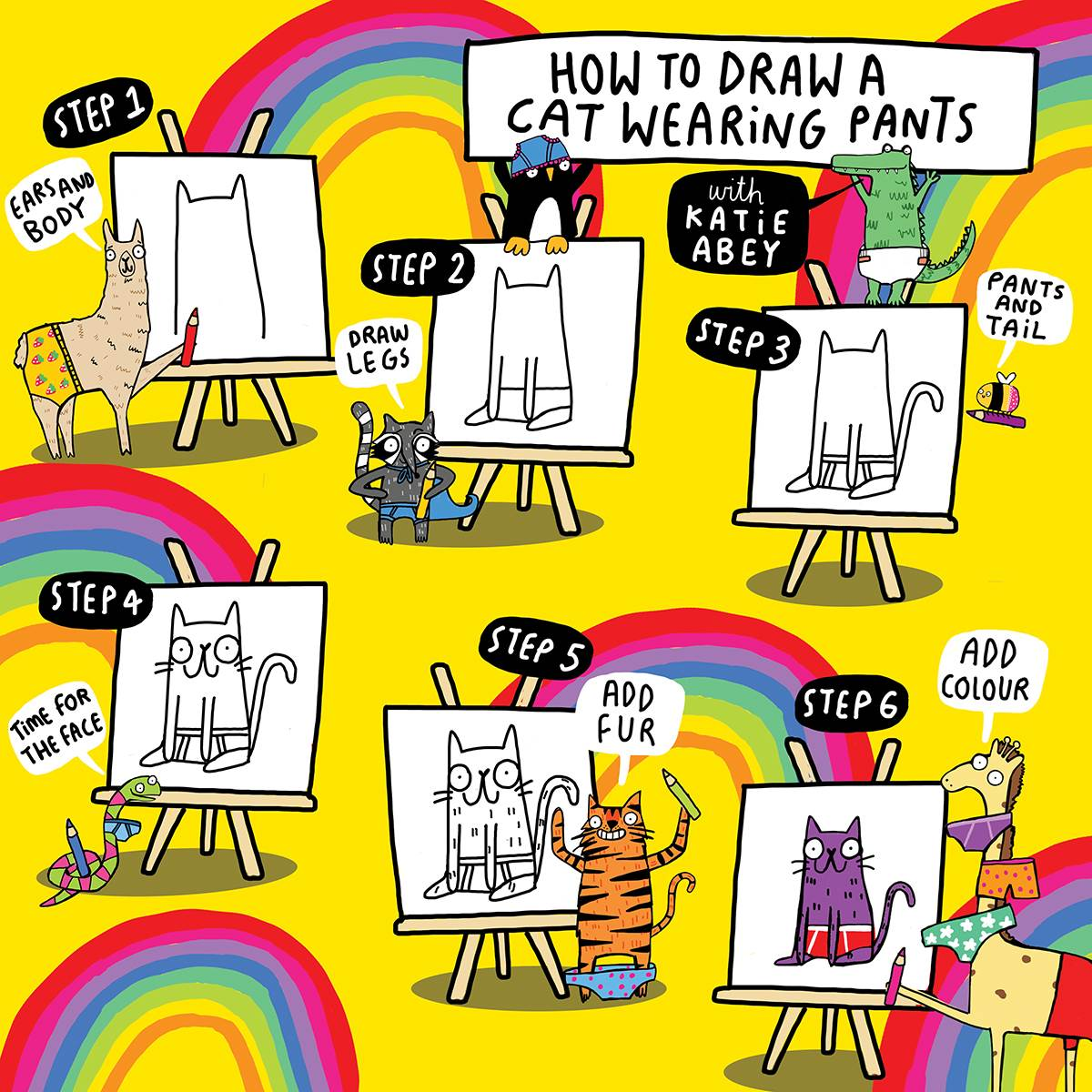 How to draw a cat in pants