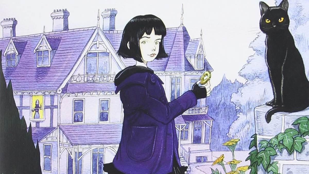 An image of Chris Riddell's cover for Neil Gaiman's book Coraline