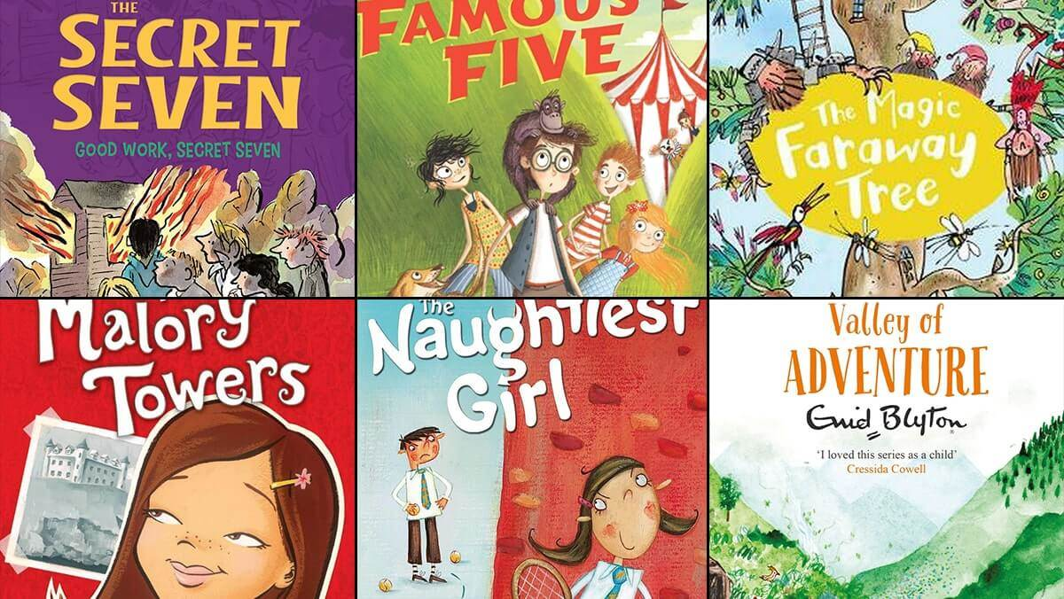 An image of various Enid Blyton books: The Secret Seven, The Famous Five, The Magic Faraway Tree, Malory Towers, The Naughtiest Girl in School, The Adventure series