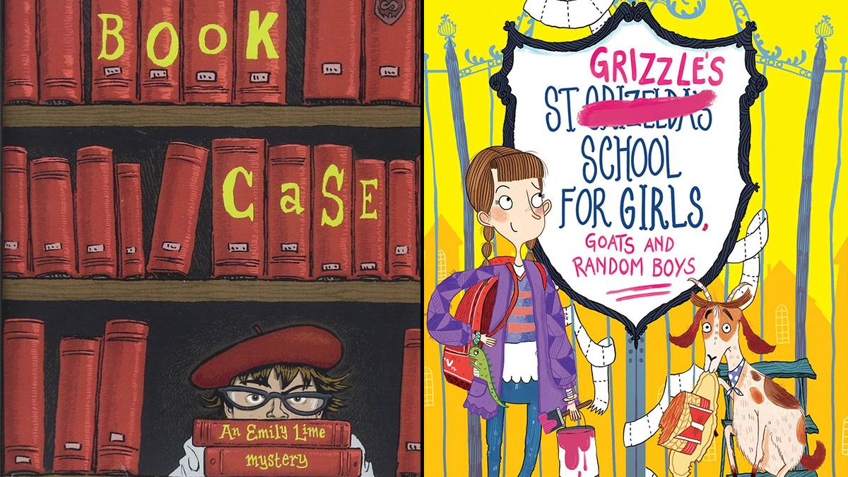 An image of the covers of The Book Case and St Grizzles School for Girls, Goats and Random Boys