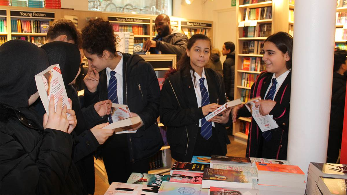 Students from St Augustine's Church of England High School on a trip to Foyles in London