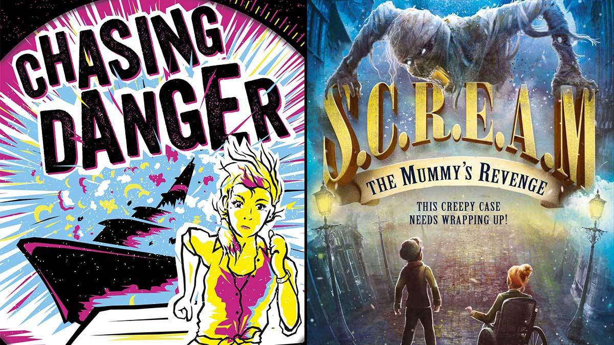 The book covers of Chasing Danger by Sara Grant and S.C.R.E.A.M.: The Mummy's Revenge by Andrew Beasley