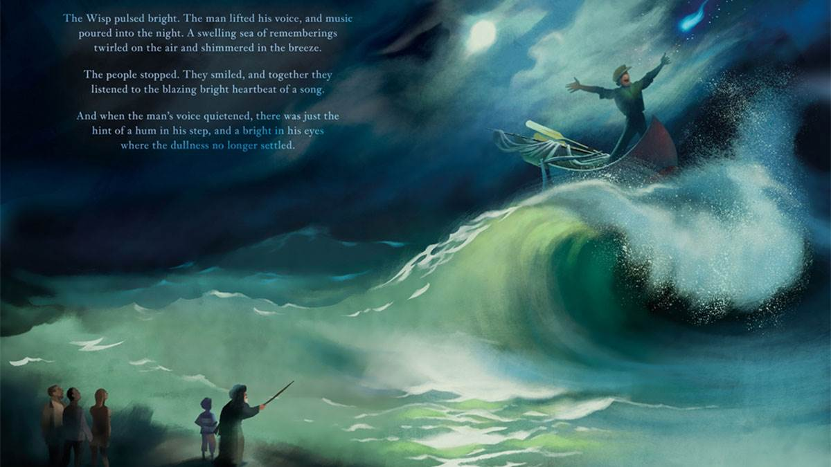 A spread from Wisp by author Zana Fraillon and illustrator Grahame Baker Smith