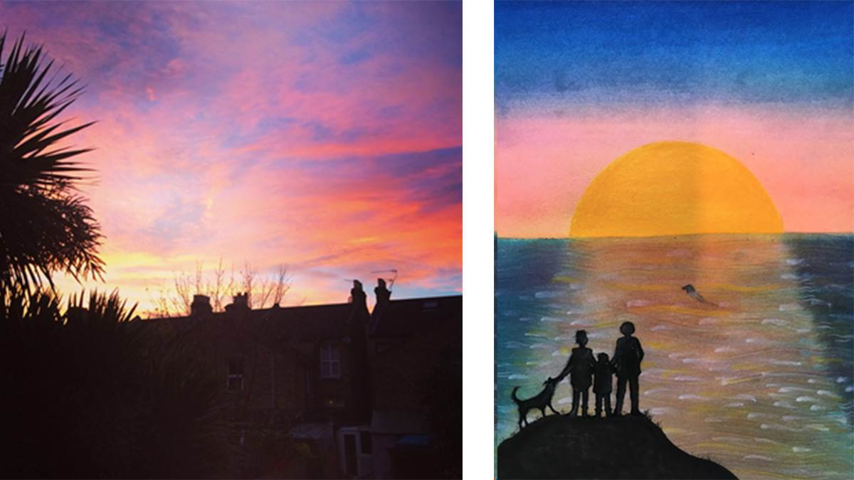 A photograph of a London sunset and an illustration by Jane Ray