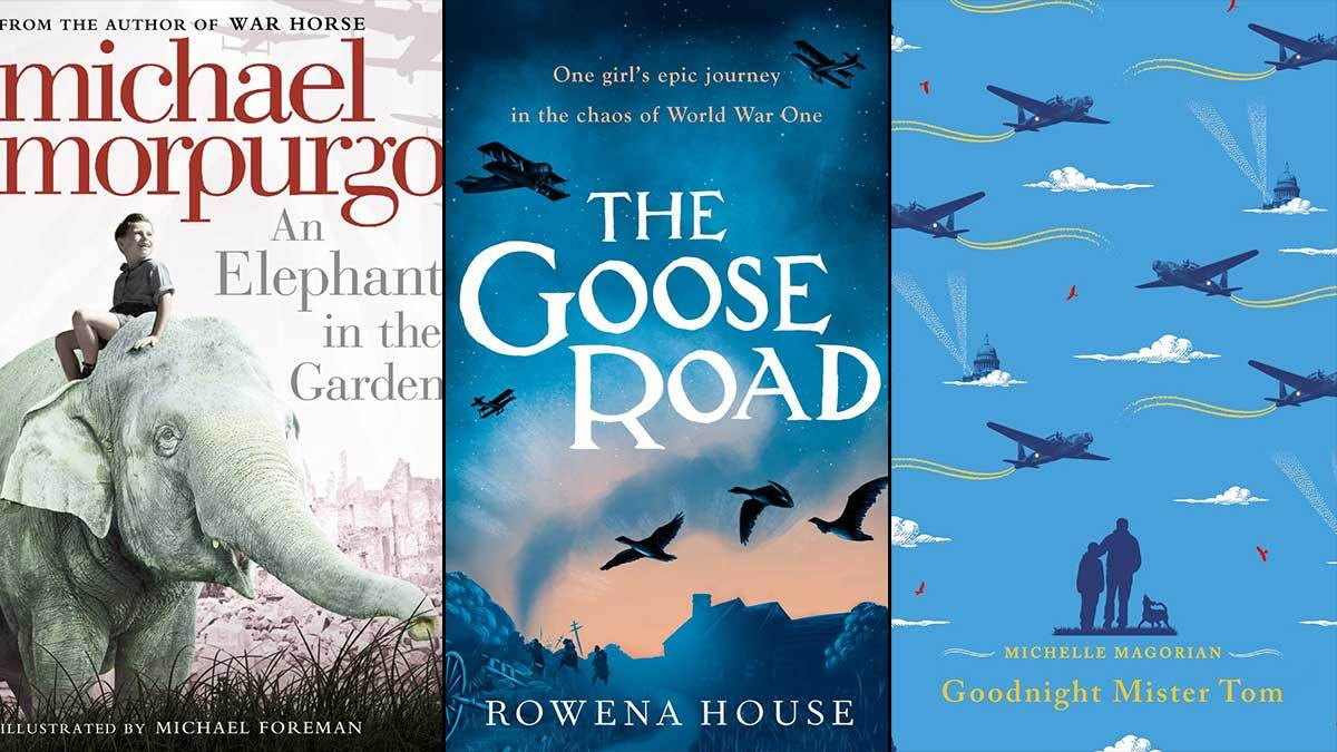 The covers of The Elephant in the Garden, The Goose Road, and Goodnight Mr Tom